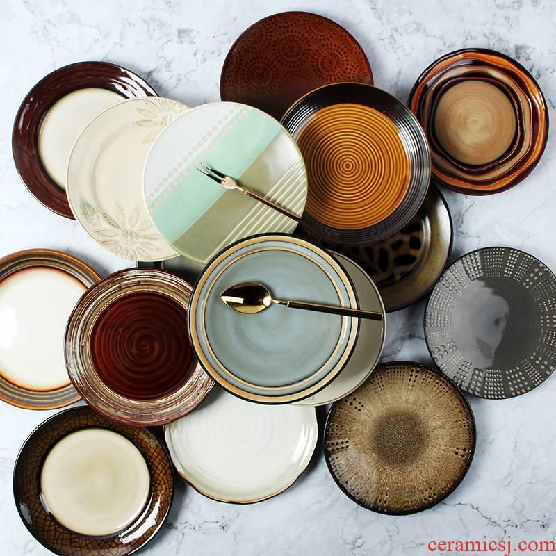 Creative ceramic eight inch plate plate of household utensils steak western hand - made ltd. salad plate plate of circular plates