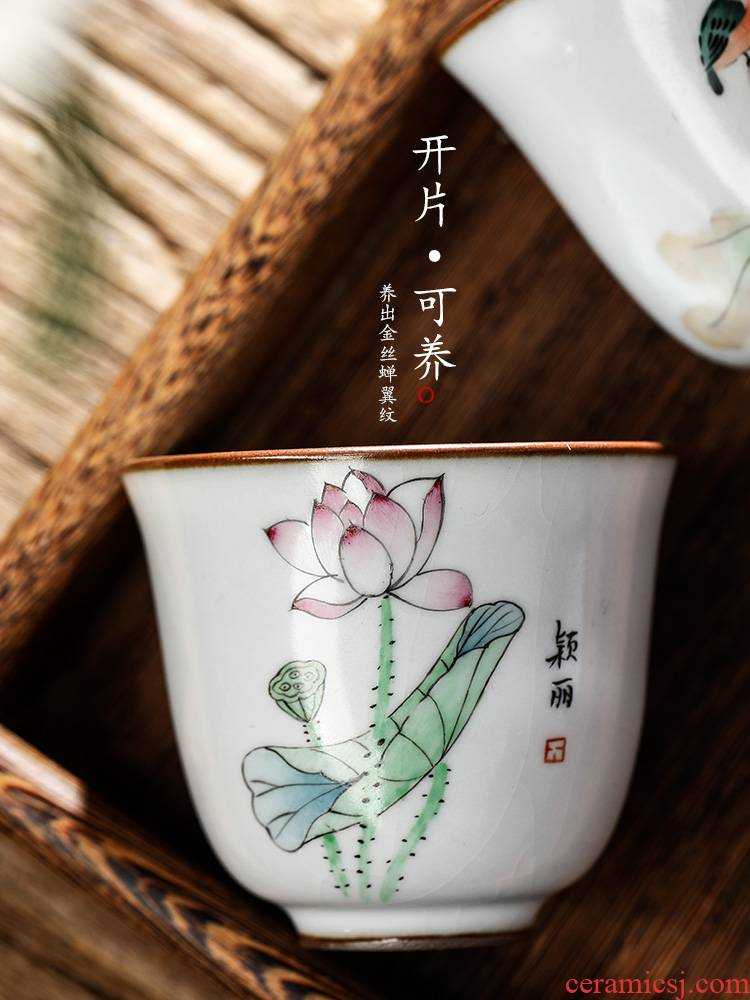 Jingdezhen ru up market metrix one cup of a cup of pure checking ceramic kung fu tea cup for cup hand - made lotus tea