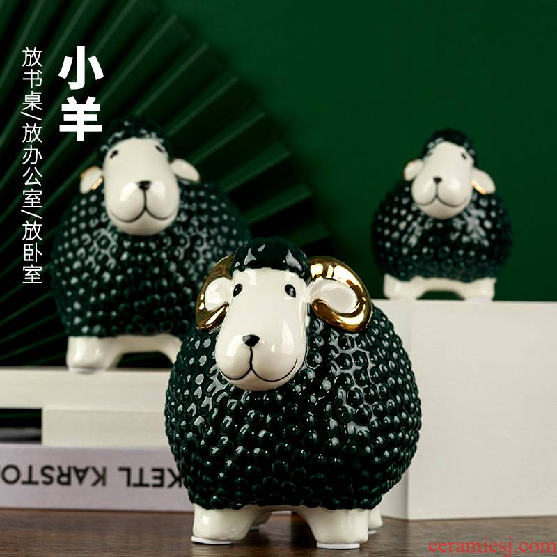 The Sheep furnishing articles ceramics handicraft three Yang kaitai living room office zodiac Sheep ceramic furnishing articles household act the role ofing is tasted