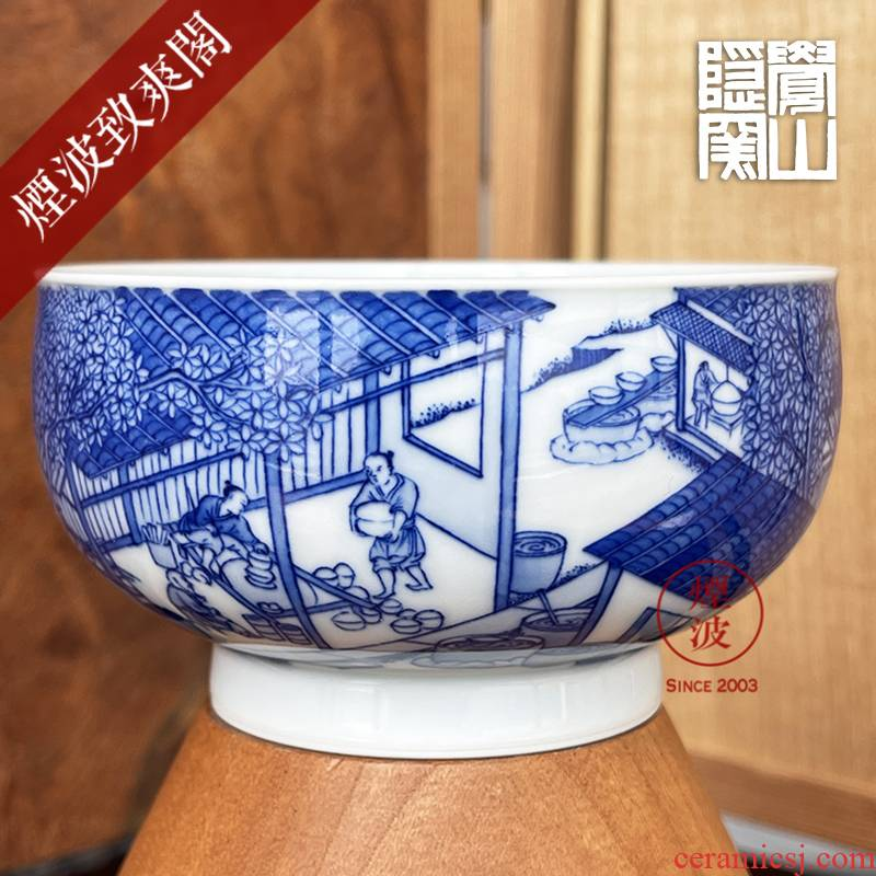 Jingdezhen sleep mountain hidden up to admire Jane with blue and white heavy porcelain making figure figure cylinder cup mold