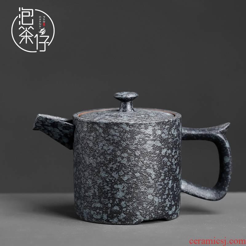 Coarse pottery teapot small teapot single pot of imitation stone in hand Japanese ceramic kung fu tea set household restoring ancient ways