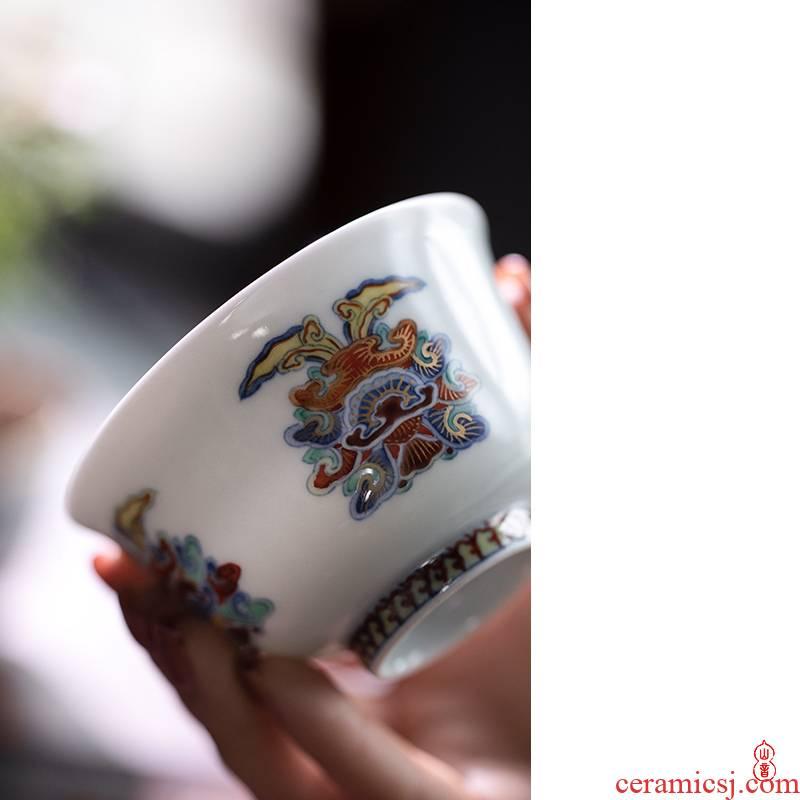 Qin Qiuyan bucket color paint double ji peony grains single CPU jingdezhen pure manual master cup ceramic kung fu tea set