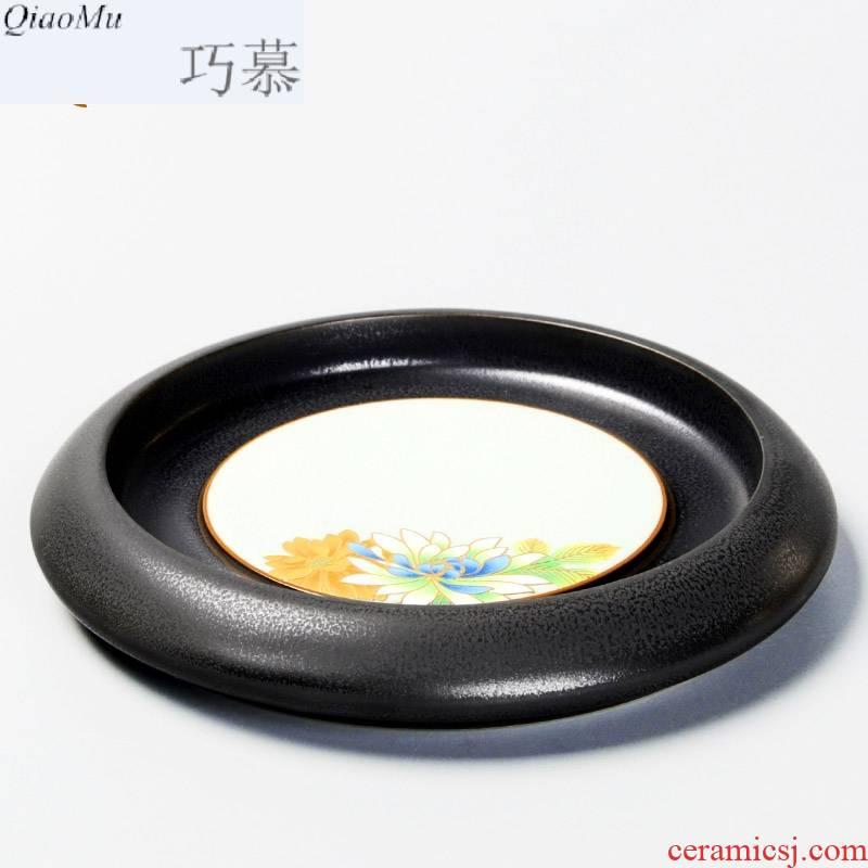 Qiao mu creative ceramic Japanese pot bearing up rust glaze pot pot pad kung fu tea tea table