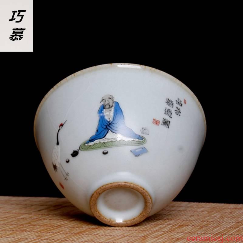 Qiao MuMing is guanyao tureen large hand - made porcelain ceramic three cups of black tea hand grasp pot of tea