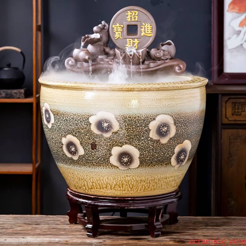 Jingdezhen ceramic goldfish bowl sitting room balcony office furnishing articles water tank filter yard is big fish bowl