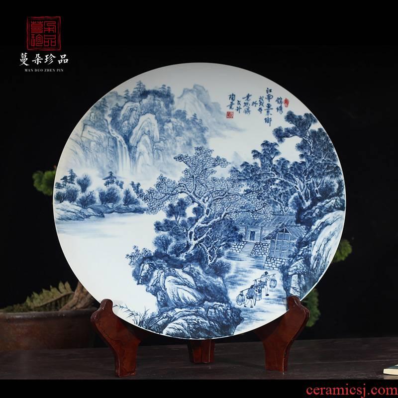 Jingdezhen hand - made of 60 cm diameter landscape market landscape blue - and - white porcelain porcelain hand - made the broader market sitting room