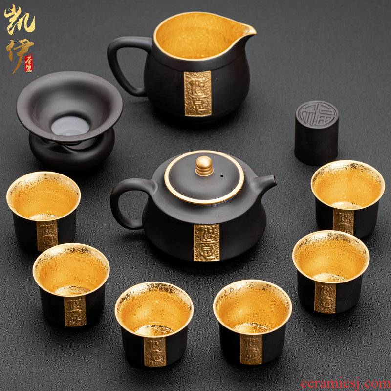 Ruyi violet arenaceous gold tea sets suit a complete set of kung fu tea set of violet arenaceous lid to use household utensils