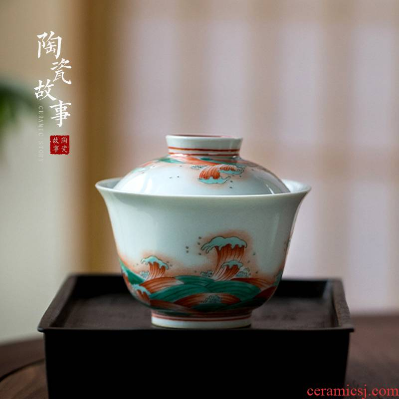 High - end checking hand - made ceramic story town tureen three tureen only single color red and green water wave grain tureen