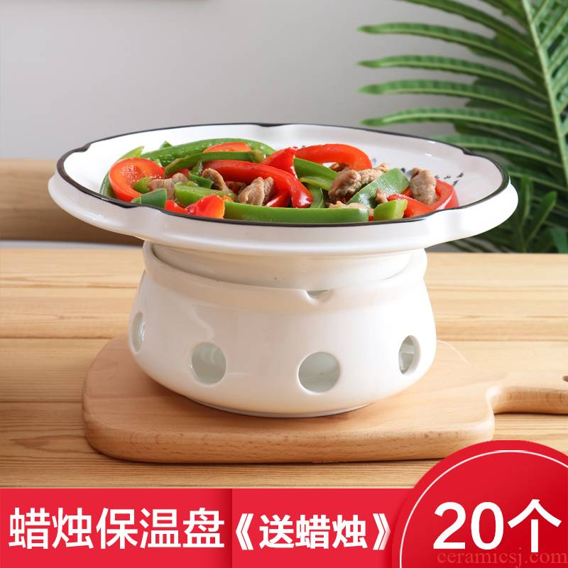 Alcohol furnace heating tableware based ltd. insulation plate dish plate creative household dry pan ceramic disc hotel Ming furnace
