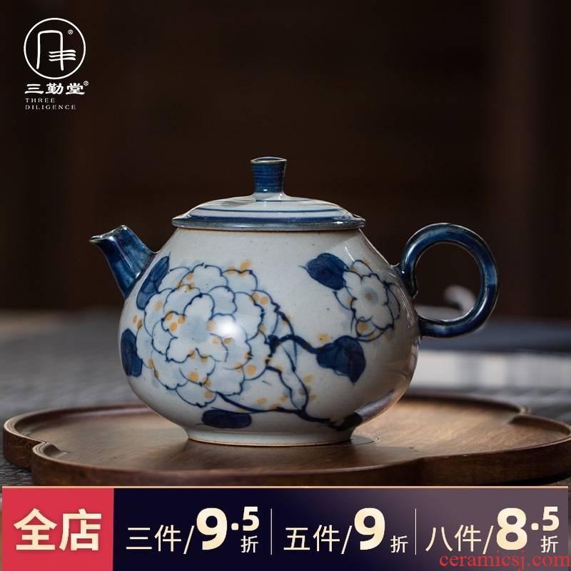 The three regular clay pot of profiteering household single pot of jingdezhen ceramic teapot tea teapot S22012