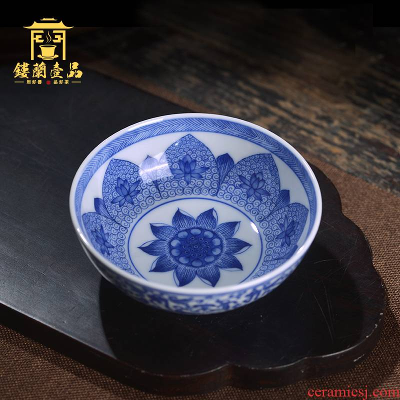 Arborist ren master cup of jingdezhen blue and white tie up branches complete hand - made ceramic tea cup kunfu tea is single cup of tea