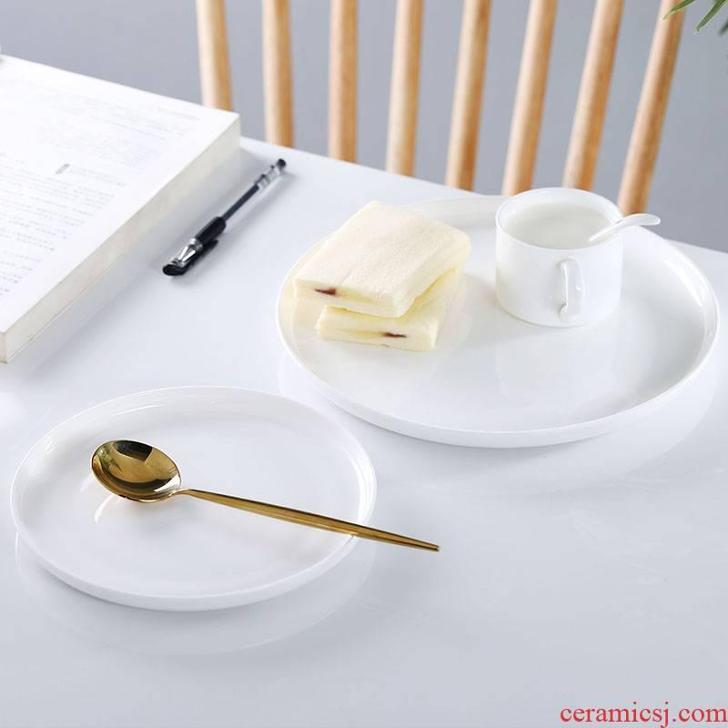 Ceramic dish dish dish household white ipads China with western food steak SaPan dessert plate of circular plates dish dishes