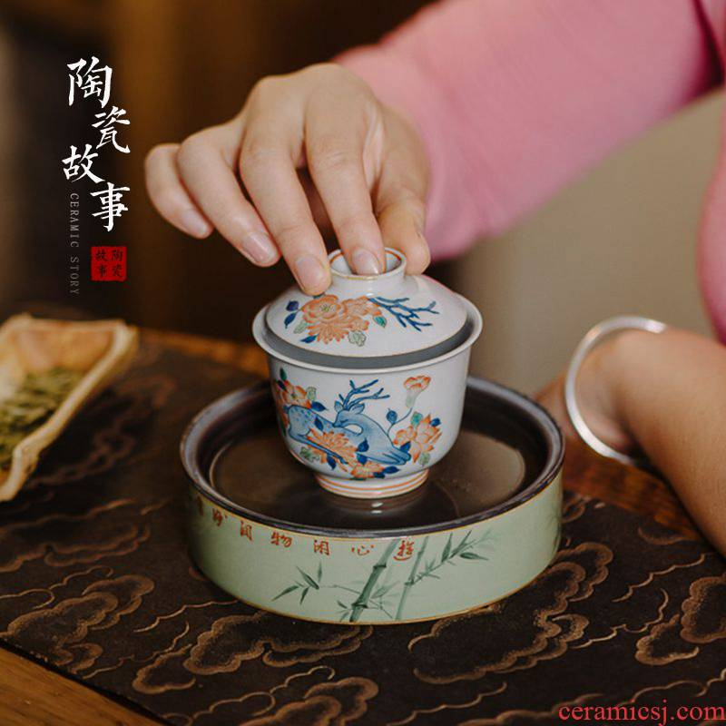 High - end checking hand - made ceramic story town tureen three tureen single bucket color sika deer tureen