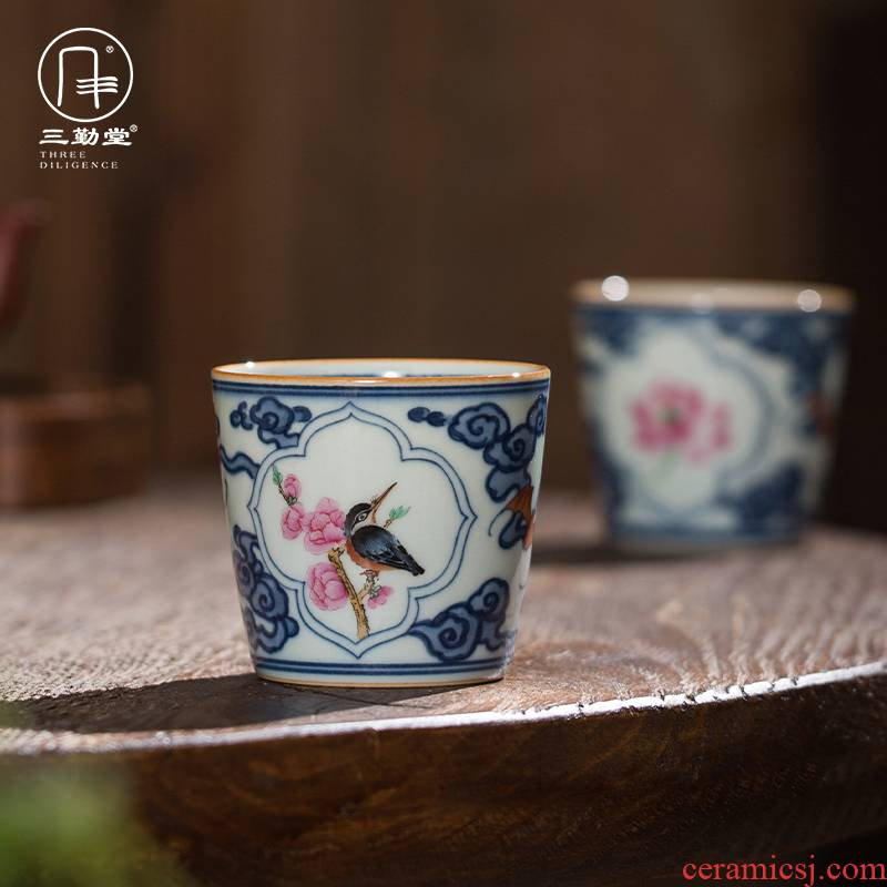 Three frequently hall teacups hand - made the master of the blue and white porcelain cup single CPU jingdezhen ceramic kung fu tea pu - erh tea sample tea cup