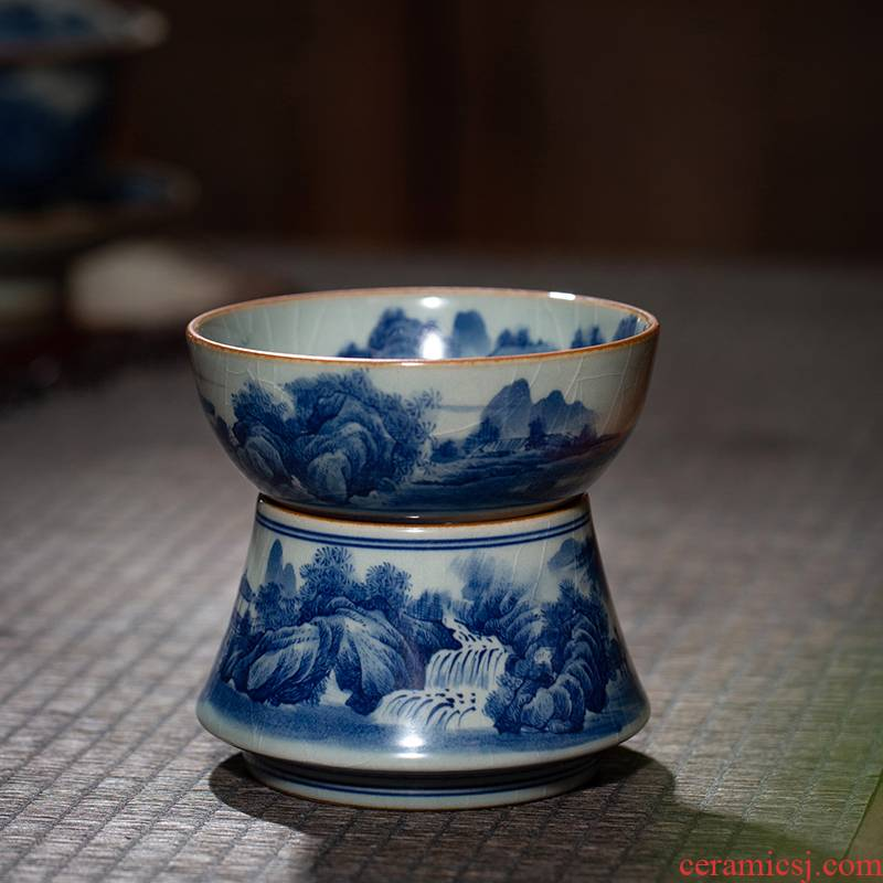 Jingdezhen blue and white maintain old tea hand - made pottery mud filter) suit kung fu tea landscape mesh accessories