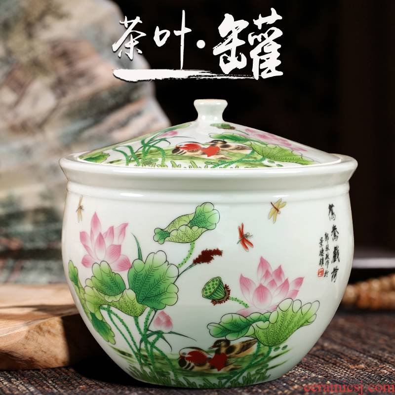 Jingdezhen ceramic famille rose seven Chinese style cake caddy fixings seal POTS retro puer tea cake large pot