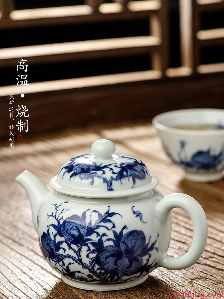 Jingdezhen blue and white teapot pure manual single pot of ceramic kung fu tea set hand - made restoring ancient ways f peach tea pot of tea