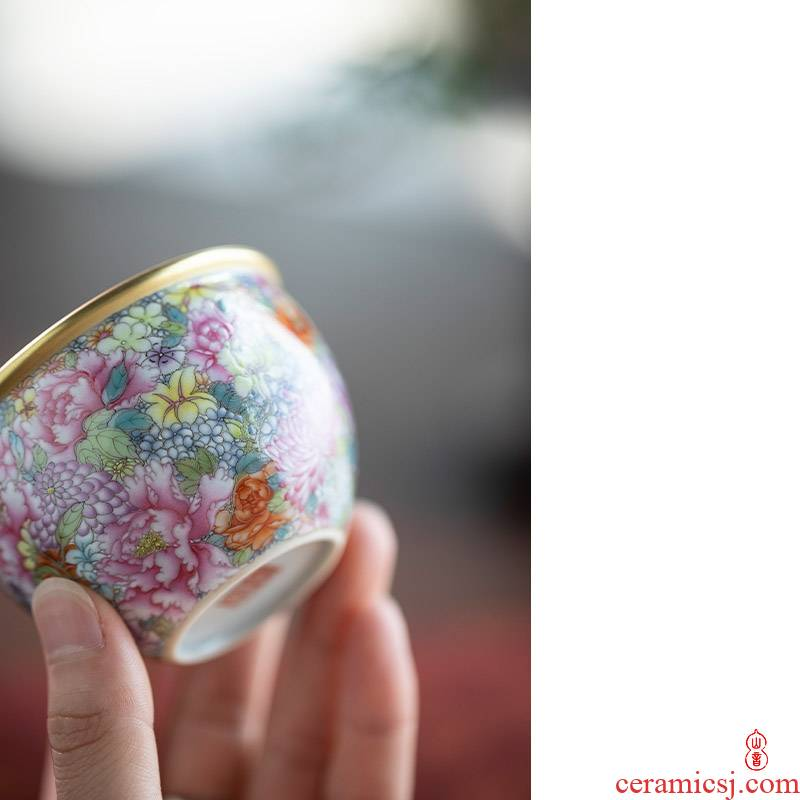 M letters flowers cylinder found of art hall of jingdezhen checking ceramic cups master cup kung fu tea sample tea cup