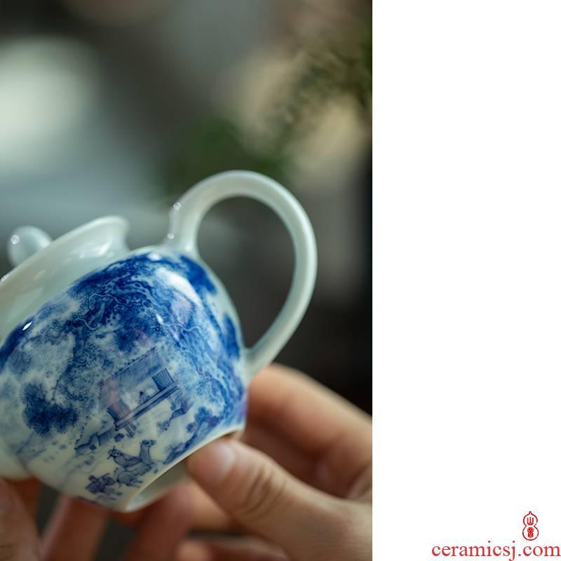 Lin Yin find bosom friend single pot of jingdezhen blue and white porcelain hand - made pot pot teapot kung fu tea set the teapot