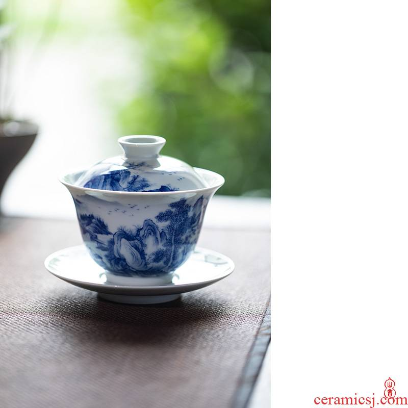 Poetry and landscape green room three only high - end tureen tureen jingdezhen porcelain hand - made teacup tea bowl