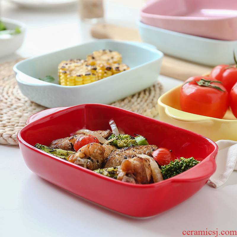 Candy color ears ceramic pan cheese baked FanPan microwave oven special dish household rectangle pasta dish