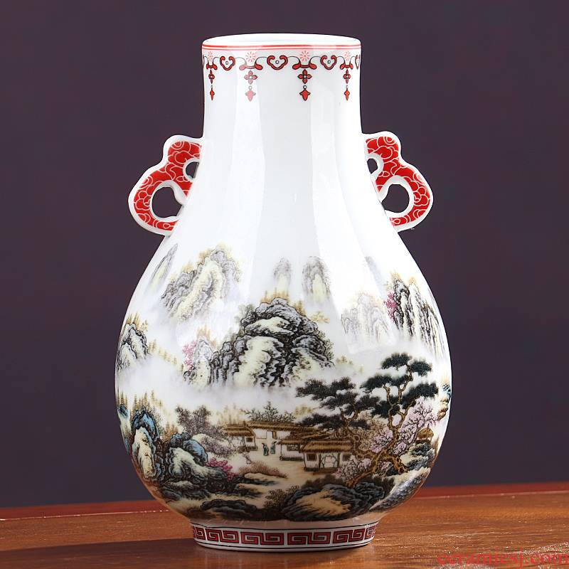 Jingdezhen ceramics vase ears imitation the qing qianlong years furnishing articles sitting room adornment antique Chinese arts and crafts