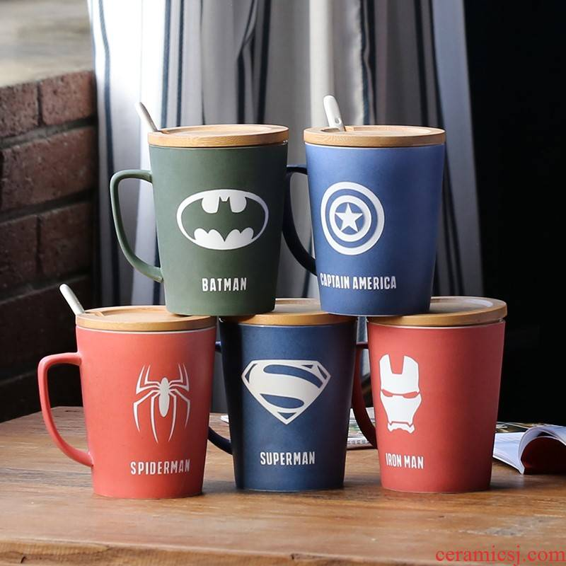 The avengers alliance creative with cover with teaspoons of large capacity keller cup grinding ceramic cup office coffee cup