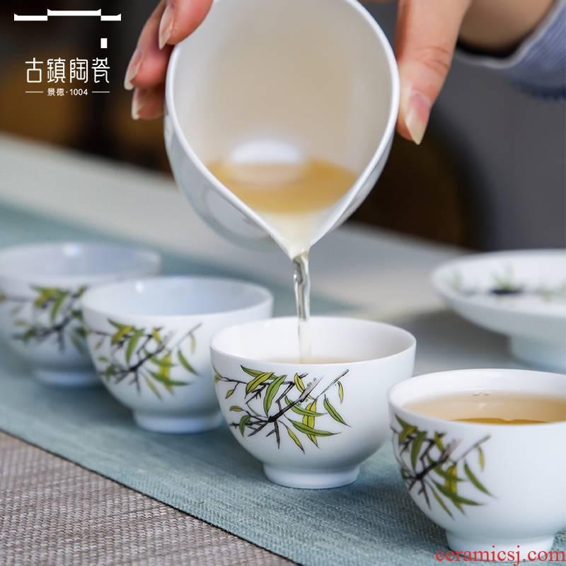 The Set of jingdezhen tea kungfu tea desk tray tea Set of household ceramic pot sitting room suit tea tea Set