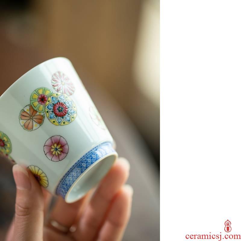 Royal maple hall ball flower straight koubei jingdezhen checking ceramic cups masters cup kung fu tea set sample tea cup