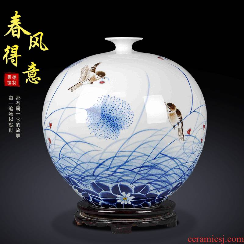 The New Chinese jingdezhen ceramics sitting room ground hand - made under glaze color porcelain vase porch TV ark, home furnishing articles