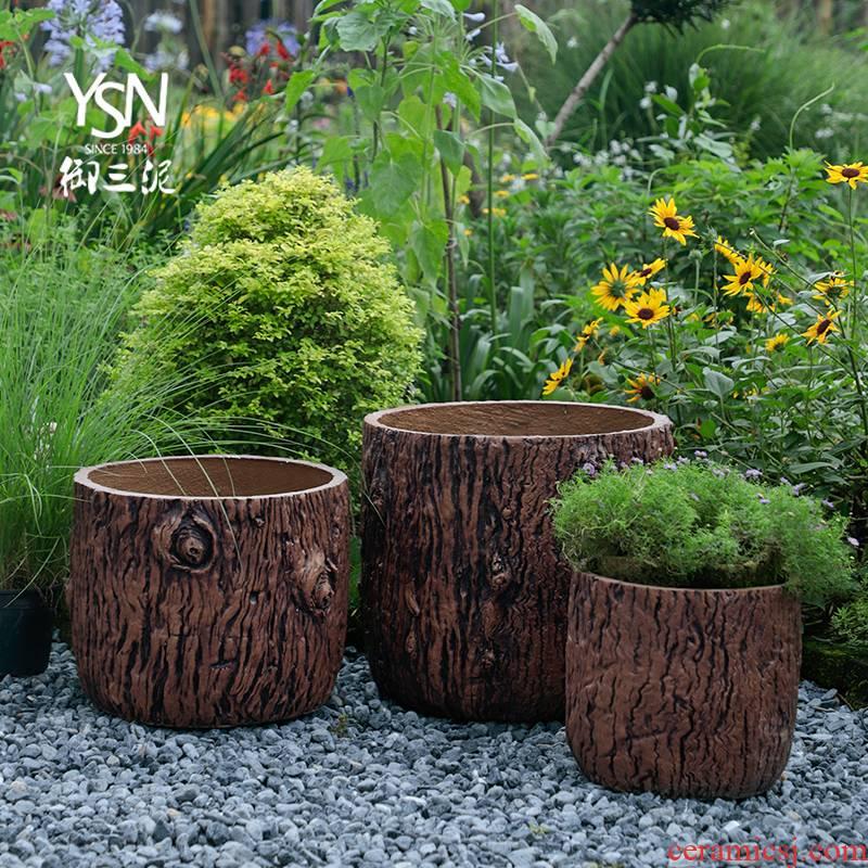 Royal three flowerpot flower bed cement red mud bark texture pot legend garden courtyard hotel furnishing articles, green plant POTS