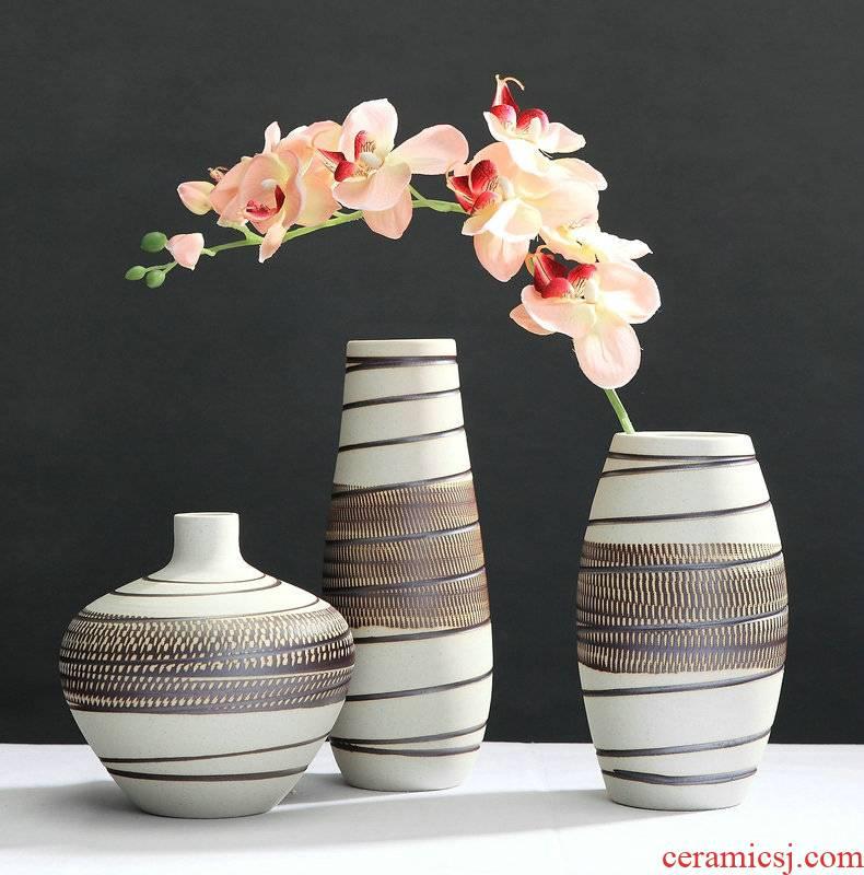 Contracted to restore ancient ways of jingdezhen ceramic vase three - piece ceramic handicraft furnishing articles sitting room desktop flower arranging flowers