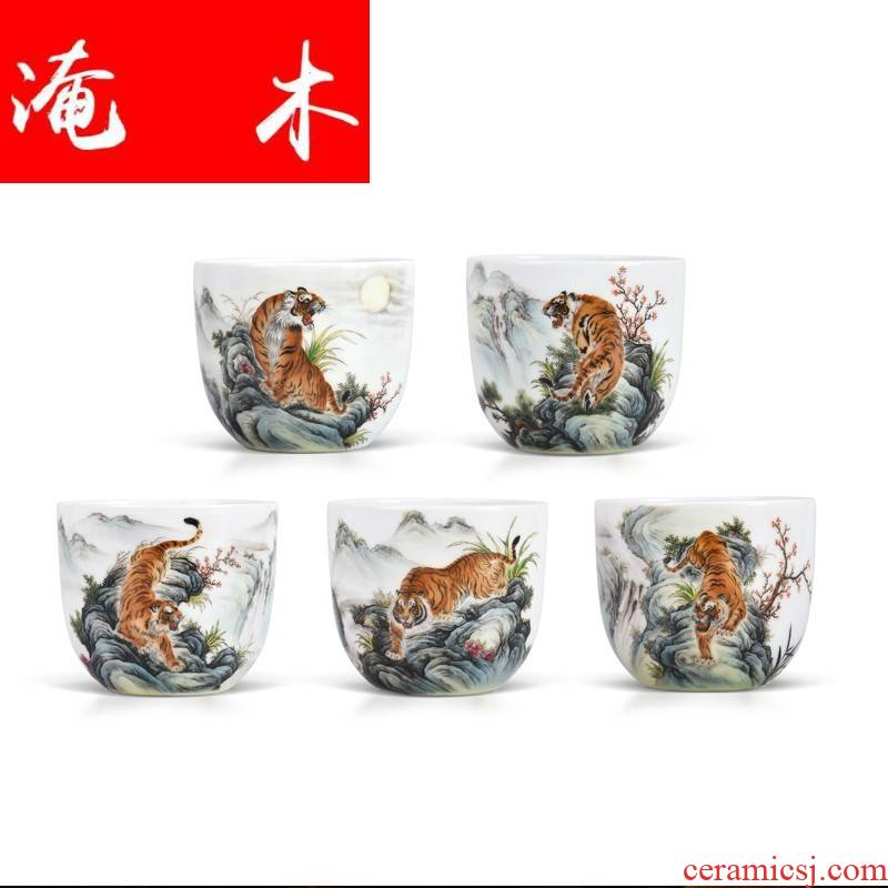 Flooded hand - made wooden jingdezhen ceramics powder enamel five blessings tiger Lord kung fu tea cup sample tea cup