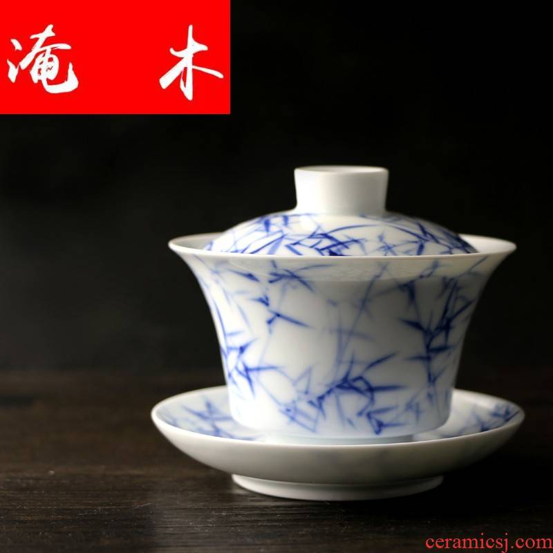 Submerged wood kung fu tea set manual hand - made porcelain jingdezhen ceramics do three to make tea tureen blue - and - white bowl of tea taking