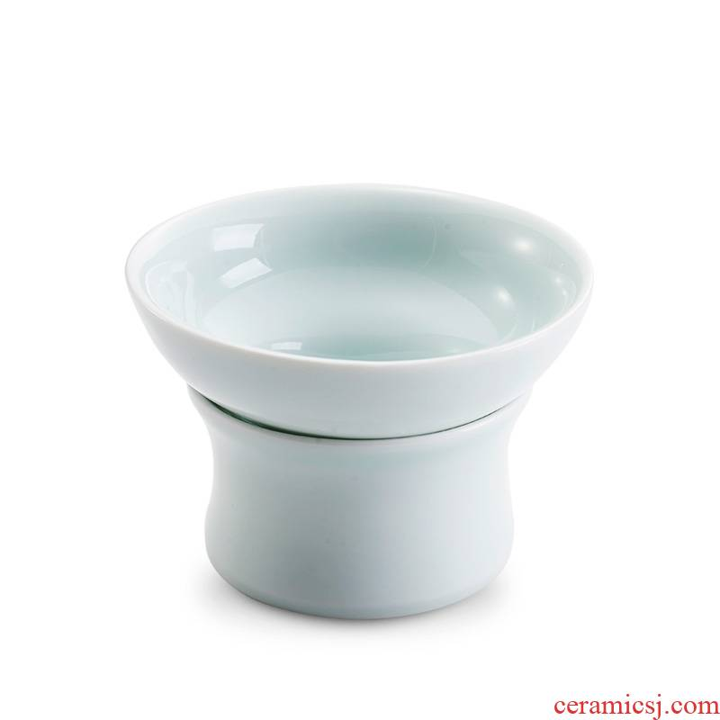 Qiao mu) tea filter creative jingdezhen ceramic tea set tea strainer net cloth filter accessories