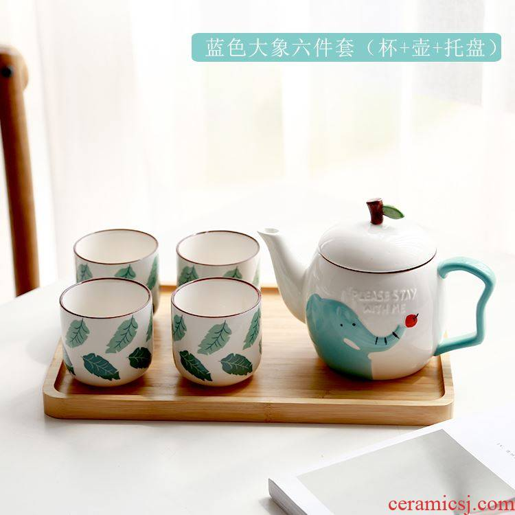 Japanese lovely family sitting room hospitality cold water kettle of water glass teapot consolidation set of household ceramics with a suit