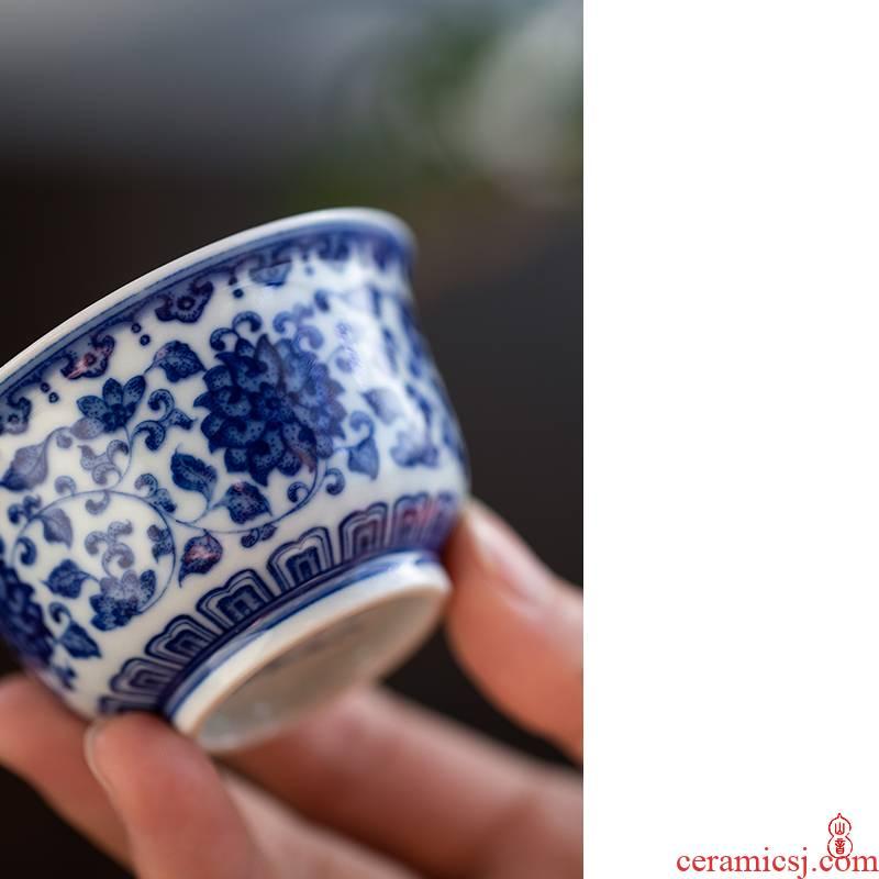 Art home benevolence put flowers zhengde glass ceramic cups master of kung fu tea set sample tea cup tie flowers zhengde cup