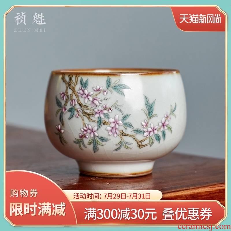 Shot incarnate your up hand - made name plum the master kung fu tea set individual sample tea cup cup of jingdezhen ceramics slicing single CPU