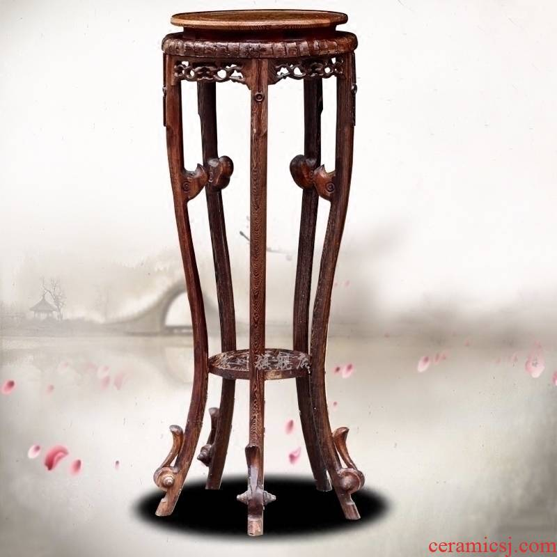 Archaize furniture wenge square wood, fish tank stone vases, flower POTS round base furnishing articles to the ground