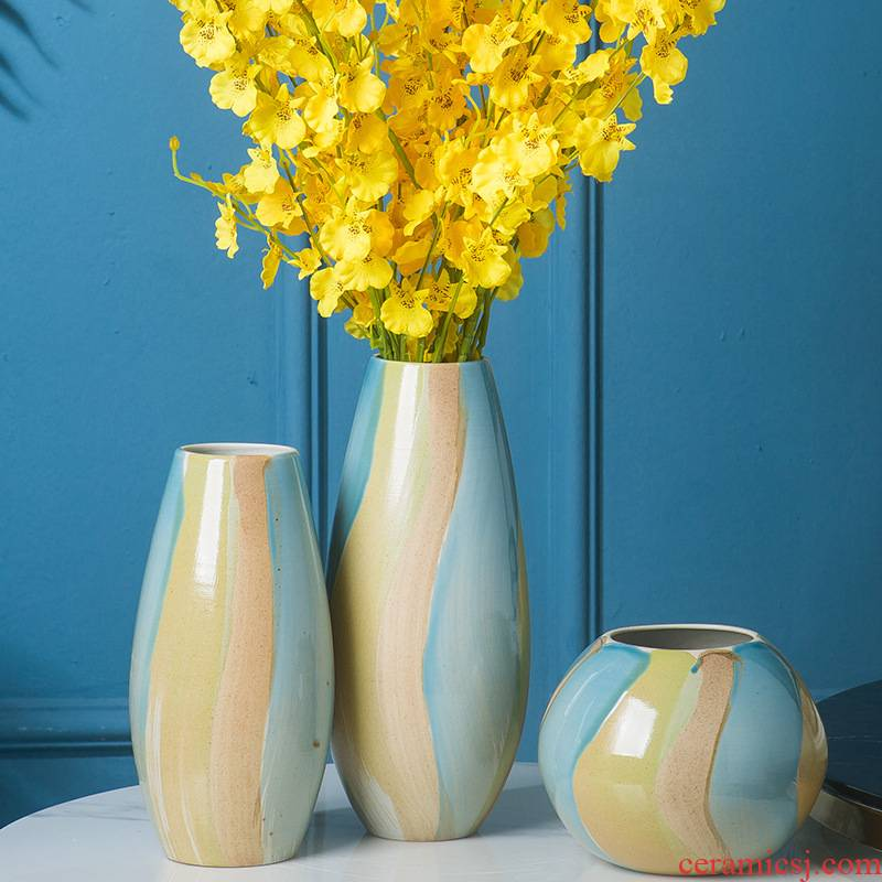 Jingdezhen ceramic vases, flower implement office of new Chinese style household decorative furnishing articles desktop soft outfit craft jewelry flower receptacle