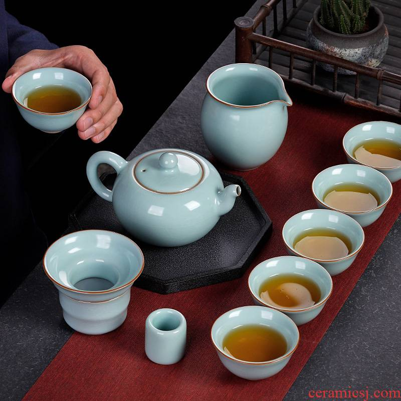 Your up tea set piece can keep the office open lounge kung fu tea cups a complete set of high - grade ceramic teapot