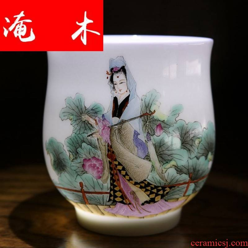 Flooded in the qing - he - his hand - made wooden jingdezhen tea set single cup sample tea cup twelve gold hair pin on powder enamel glaze characters better