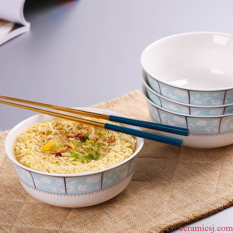 4 pack of jingdezhen ceramic rainbow such as bowl home eat rice bowl 6 inches dishes suit large soup bowl mercifully rainbow such as bowl steaming food bowl