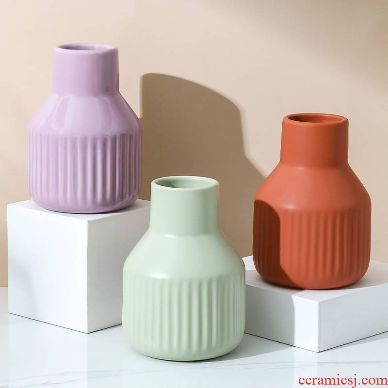 Ins Nordic simple ceramic vase new dried flowers flower arrangement home sitting room bedroom furnishing articles table decorations