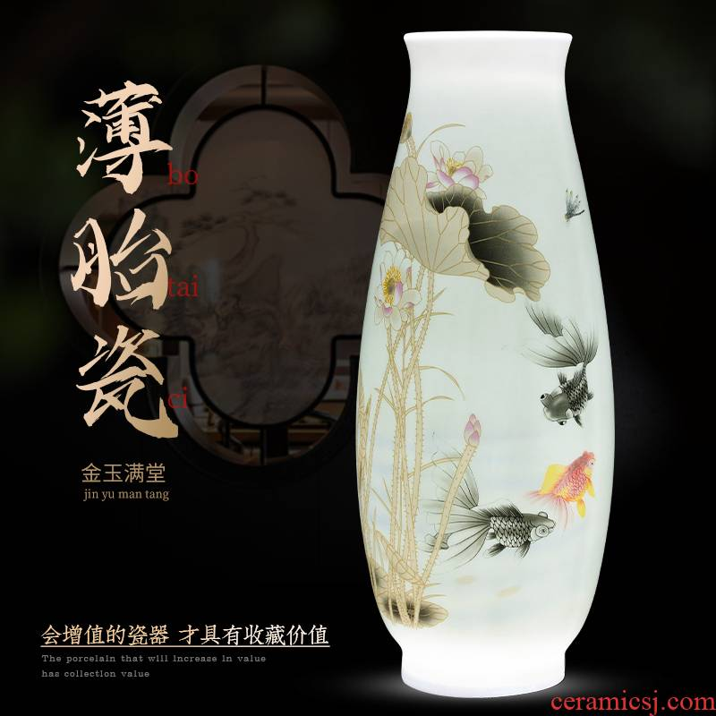 Jingdezhen ceramics lucky bamboo vase furnishing articles living room flower arranging new Chinese style household adornment TV ark
