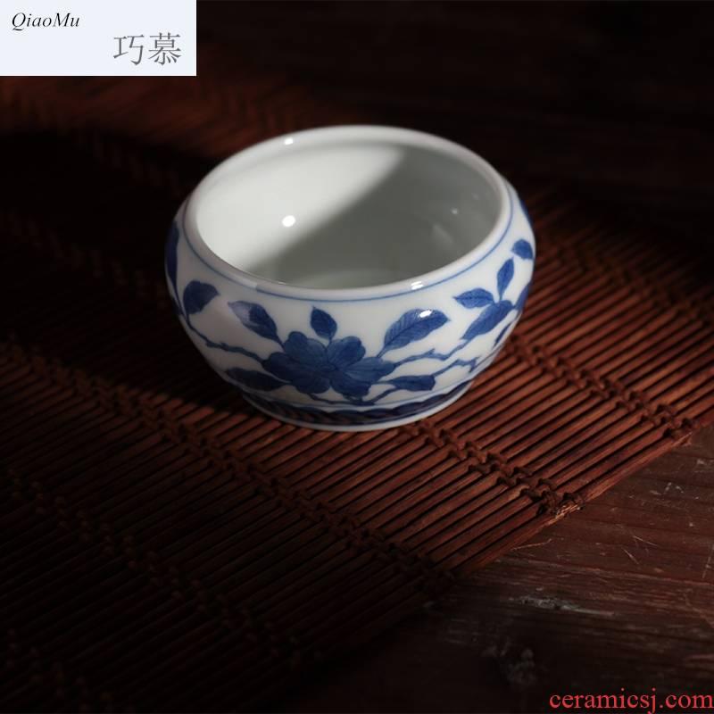 Blue and white lie qiao mu JYD archaize yongzheng kung fu fa cup of jingdezhen ceramics cup individual sample tea cup host mercifully