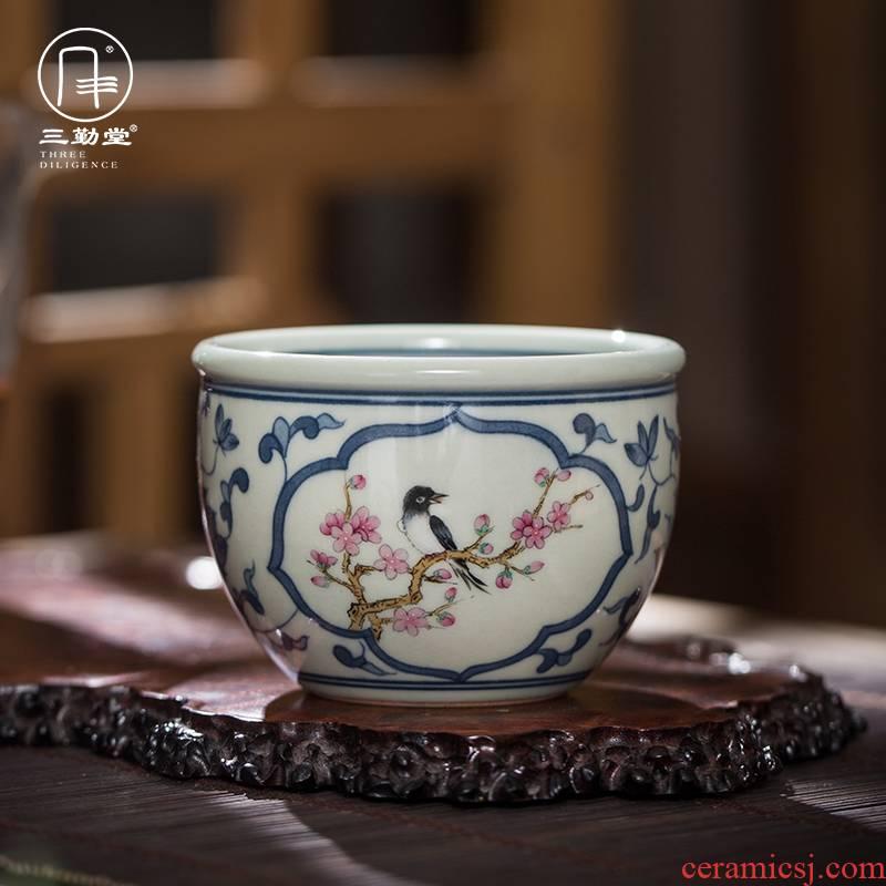 Three frequently hall window hand - made porcelain cups master cup single CPU jingdezhen ceramic kung fu tea pu - erh tea sample tea cup