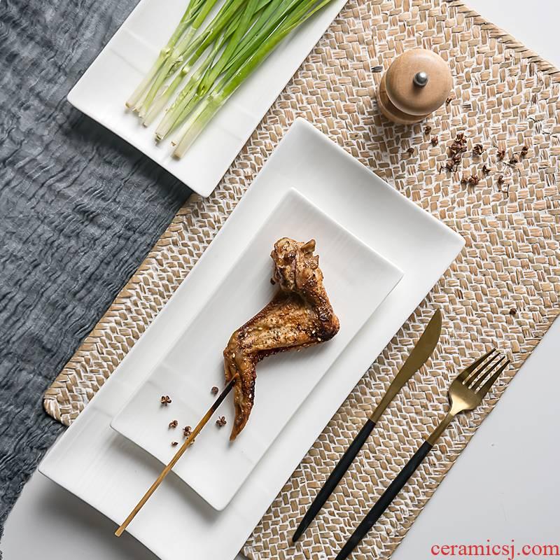 Creative sushi plate ceramic plates home chicken wings dessert plate rectangular plate stir - fry dish fish dish tableware dinner plate
