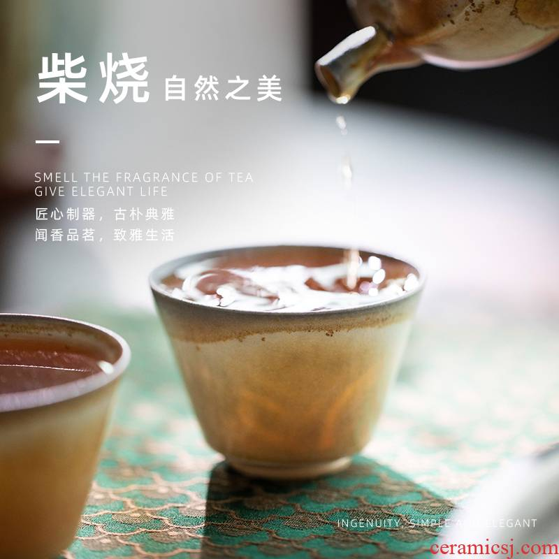 GuYan firewood wsop cup of jingdezhen ceramic cup by hand without glaze natural dust firewood masters cup