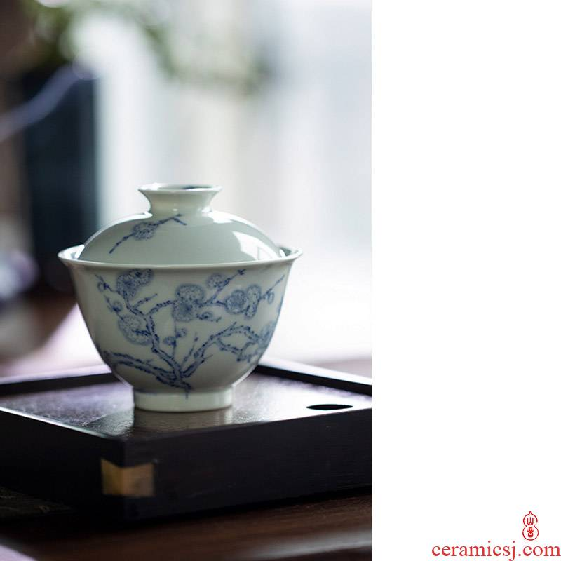 Blue and white after the rain tureen jingdezhen Blue and white two high temperature ceramic tureen hand - made to tureen tea bowl
